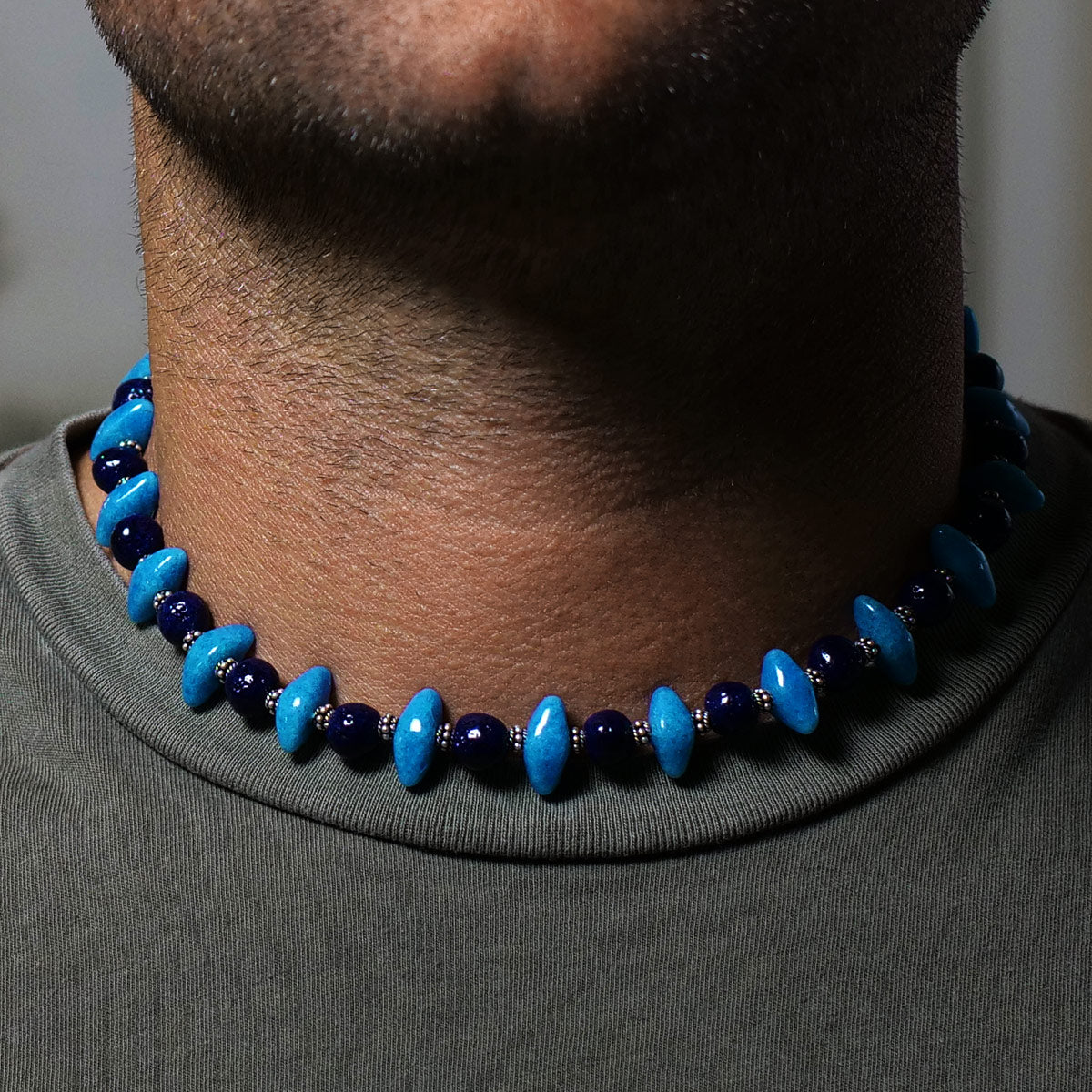 "Men's Necklace in Blue Faience ""Croc Teeth"" and Indigo Faience - Em Hotep Collection"