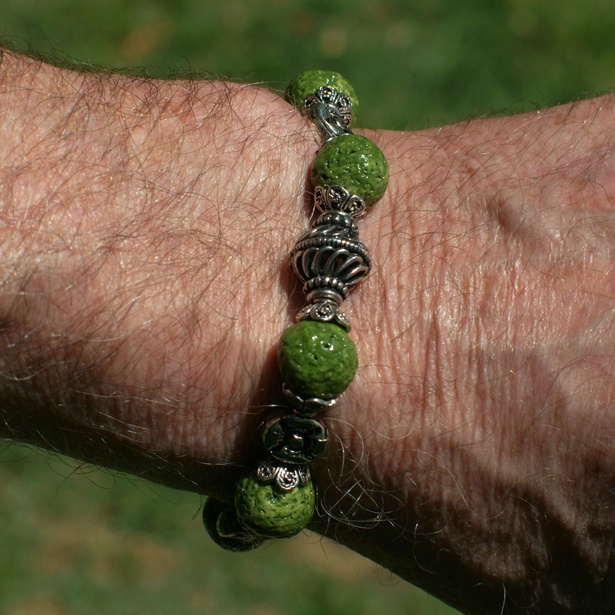 Men's Bracelet in Green Faience - Em Hotep Collection