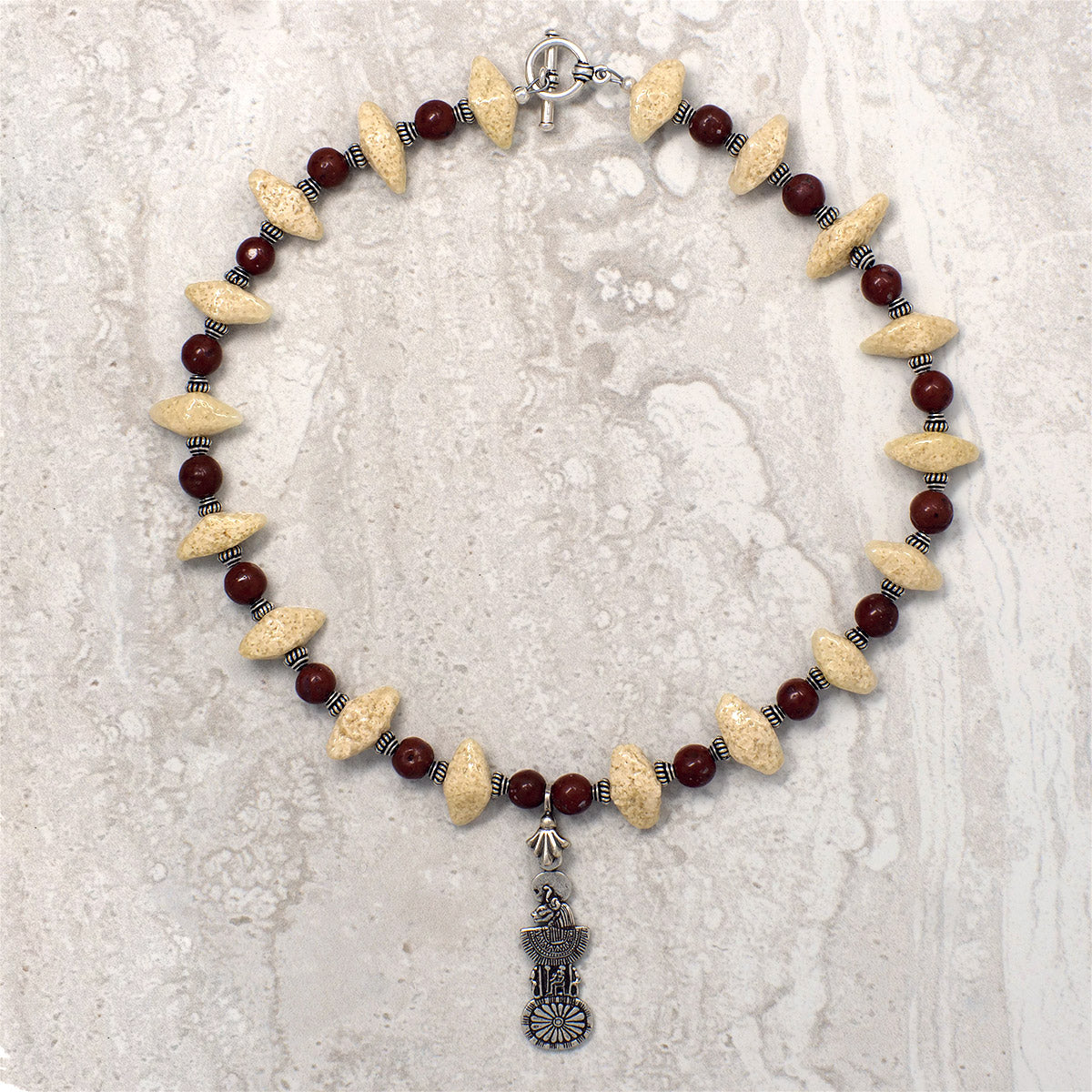 "Men's Necklace in Sand Tone Faience ""Croc Teeth"" and Matte Red Jasper - Em Hotep Collection"