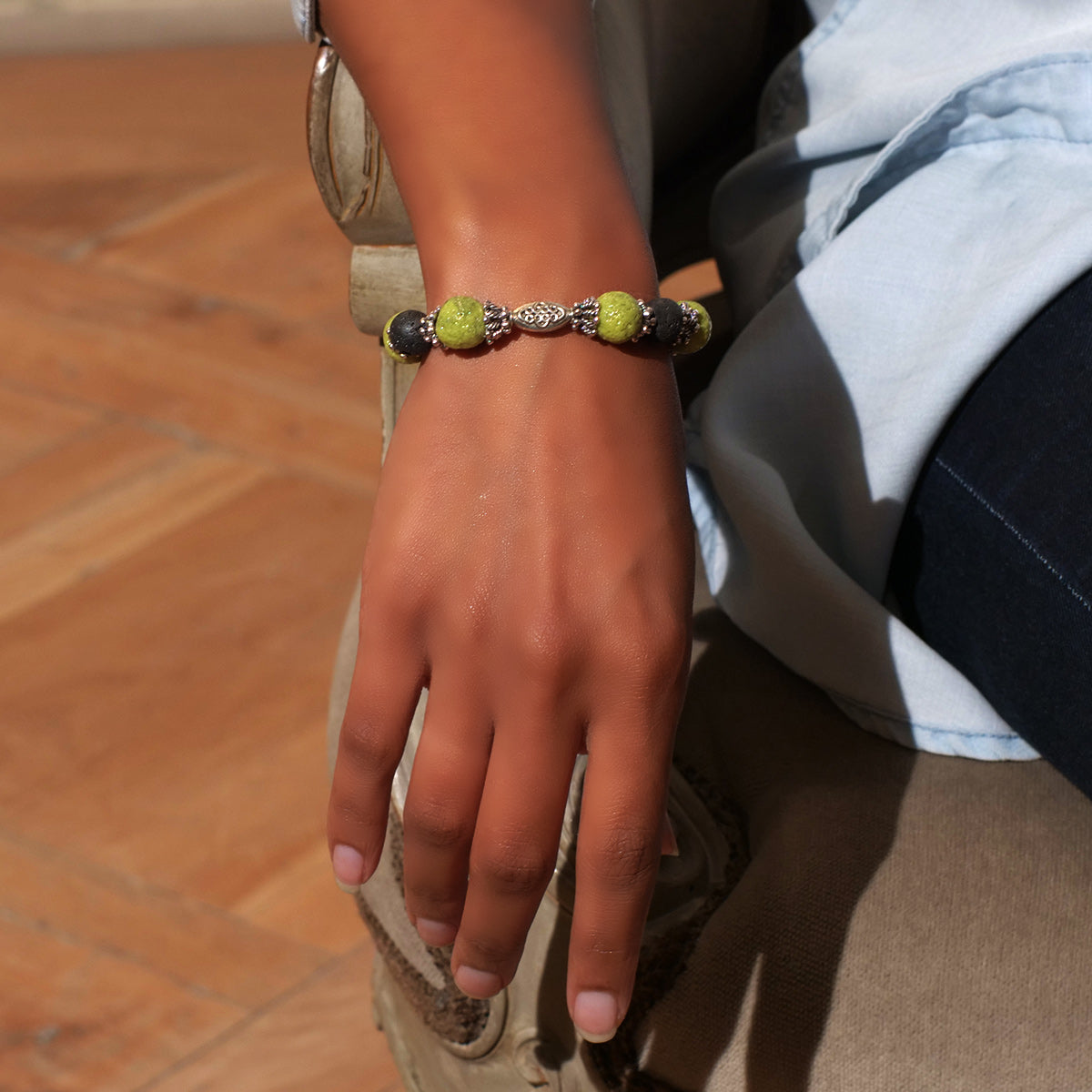Women's Bracelet in Pale Green Faience and Black Lava - Em Hotep Collection
