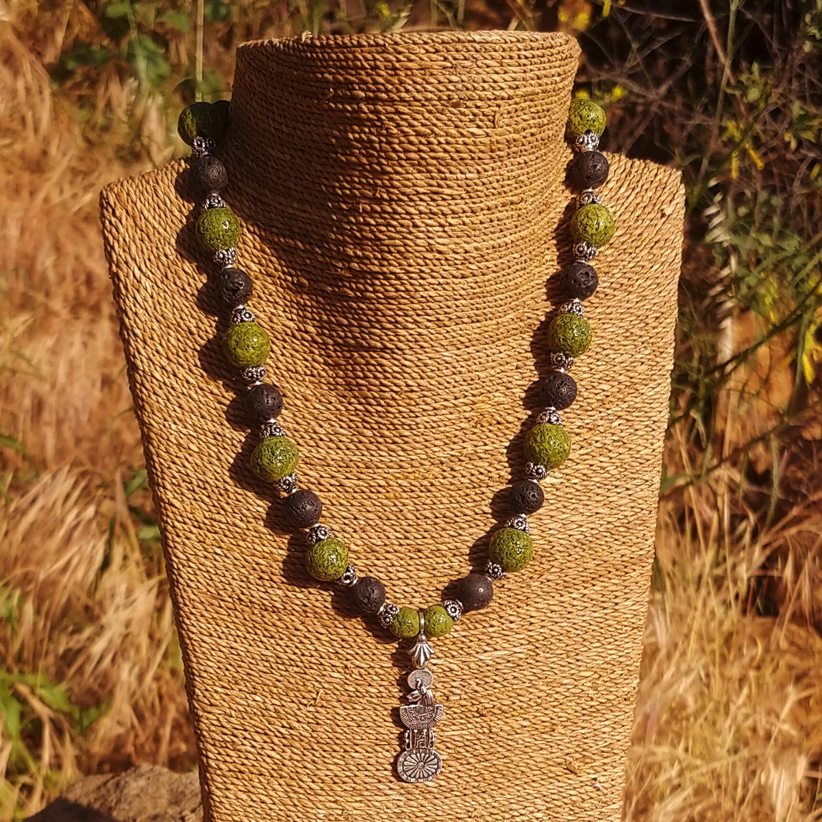Women's Necklace in Nile Green Faience and Matte Black Lava - Em Hotep Collection