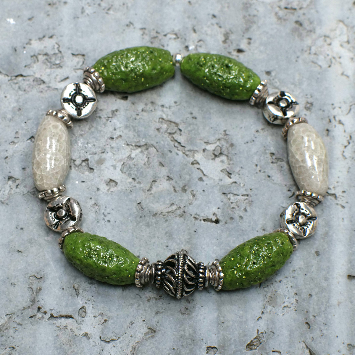 Men's Bracelet in Green and Grey Pearl Faience - Em Hotep Collection
