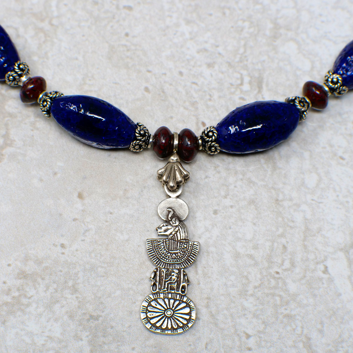 Women's Necklace in Indigo Blue Faience and Red Jasper Rondelles - Em Hotep Collection