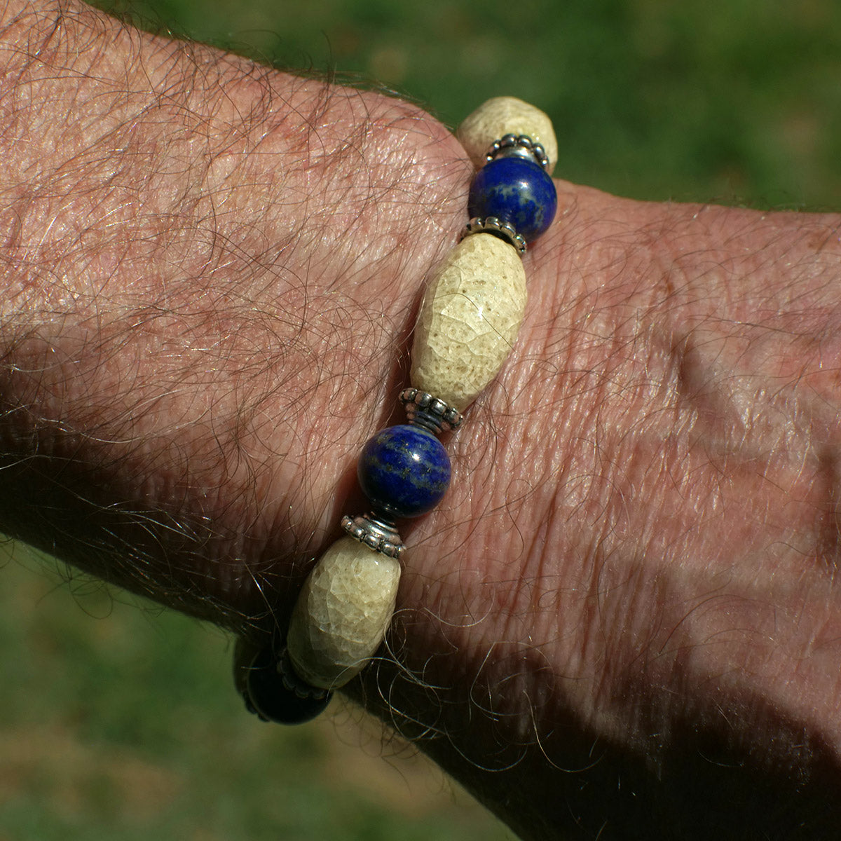 Men's Bracelet in Indigo Blue and Sand Tone Faience - Em Hotep Collection