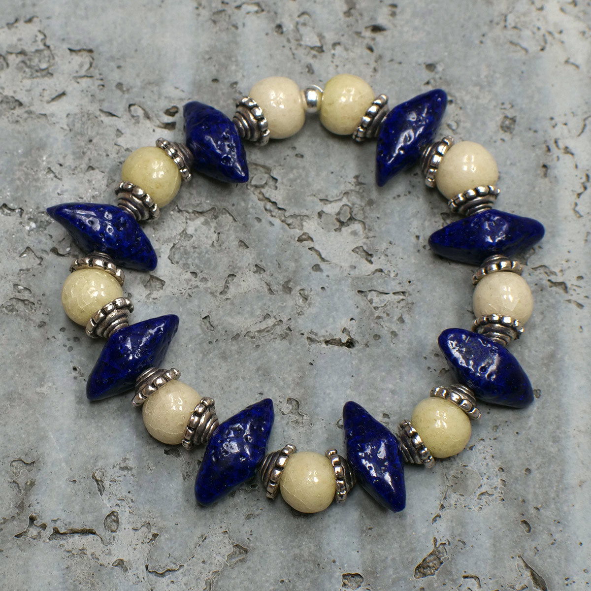 "Women's Bracelet in Indigo ""Croc Teeth"" and Pearl Grey Faience - Em Hotep Collection"