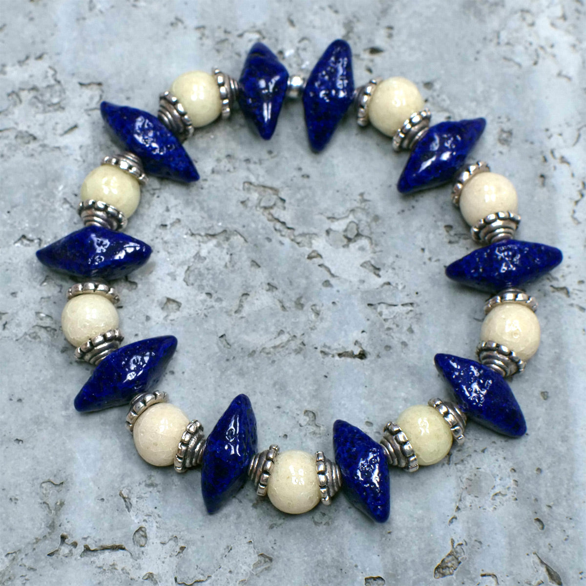 "Men's Bracelet in Indigo ""Croc Teeth"" and Pearl Grey Faience - Em Hotep Collection"