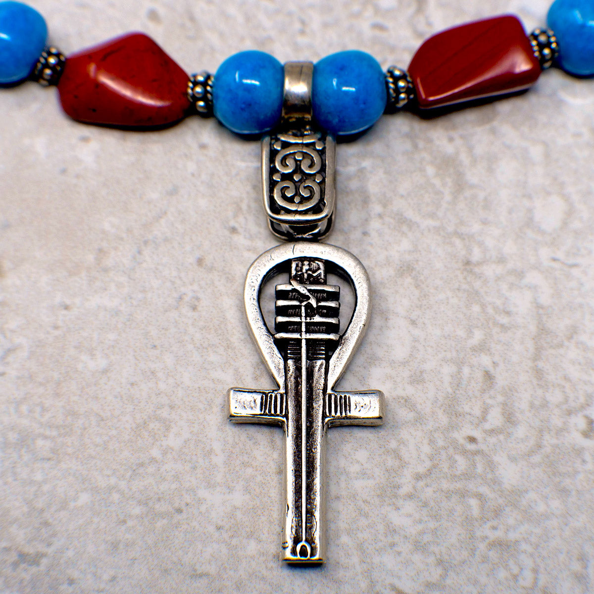 Women's Necklace in Blue Faience with Red Jasper Hand-Hewn Nuggets - Em Hotep Collection