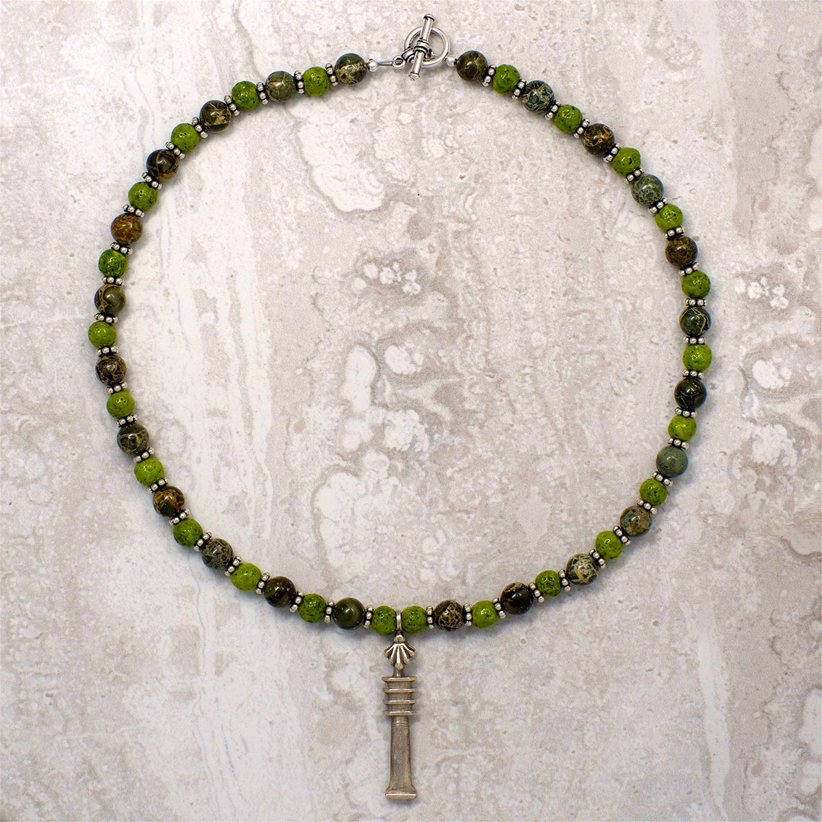 Men's Necklace in Nile Green Faience with Green Brecciated Jasper - Em Hotep Collection
