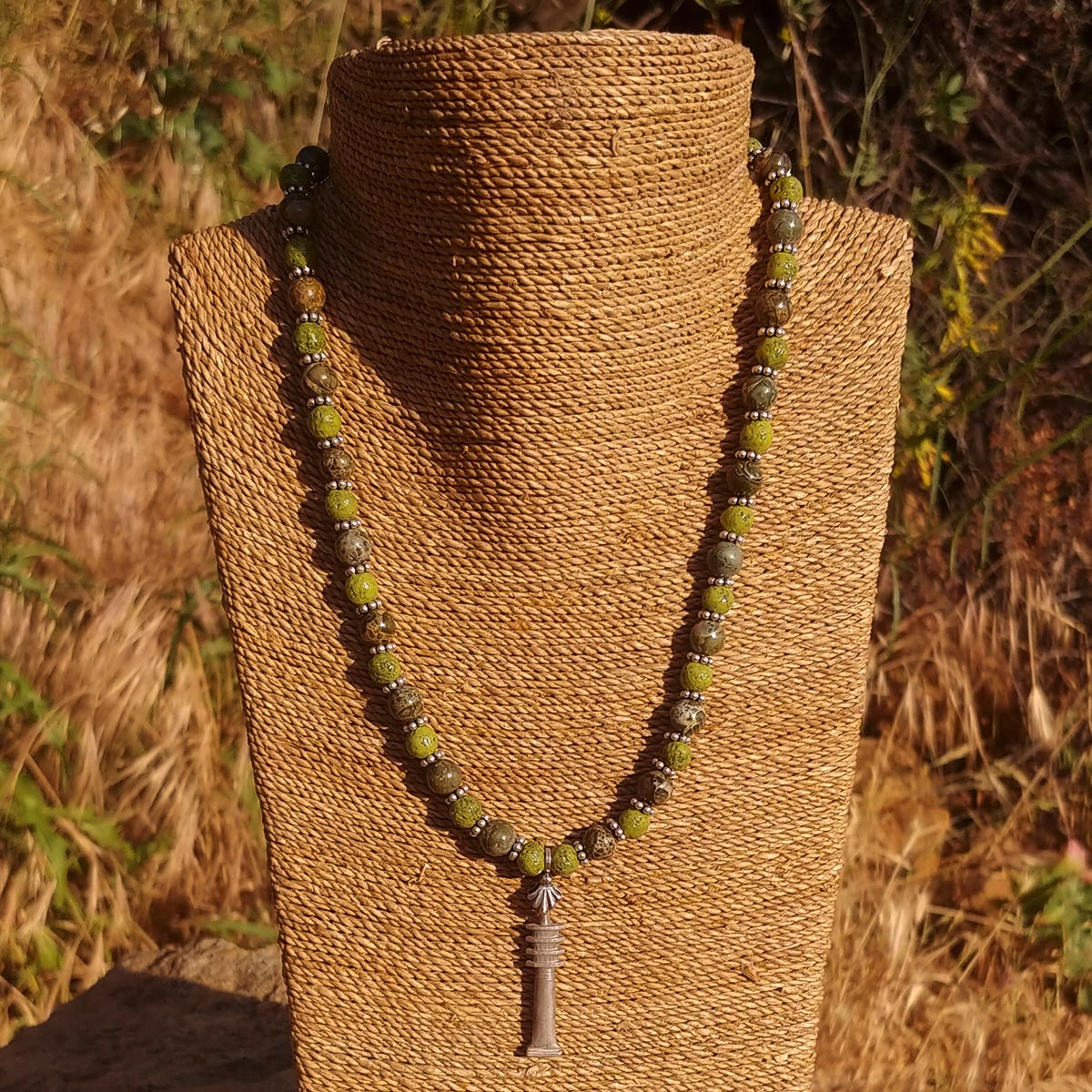 Women's Necklace in Nile Green Faience with Green Brecciated Jasper - Em Hotep Collection