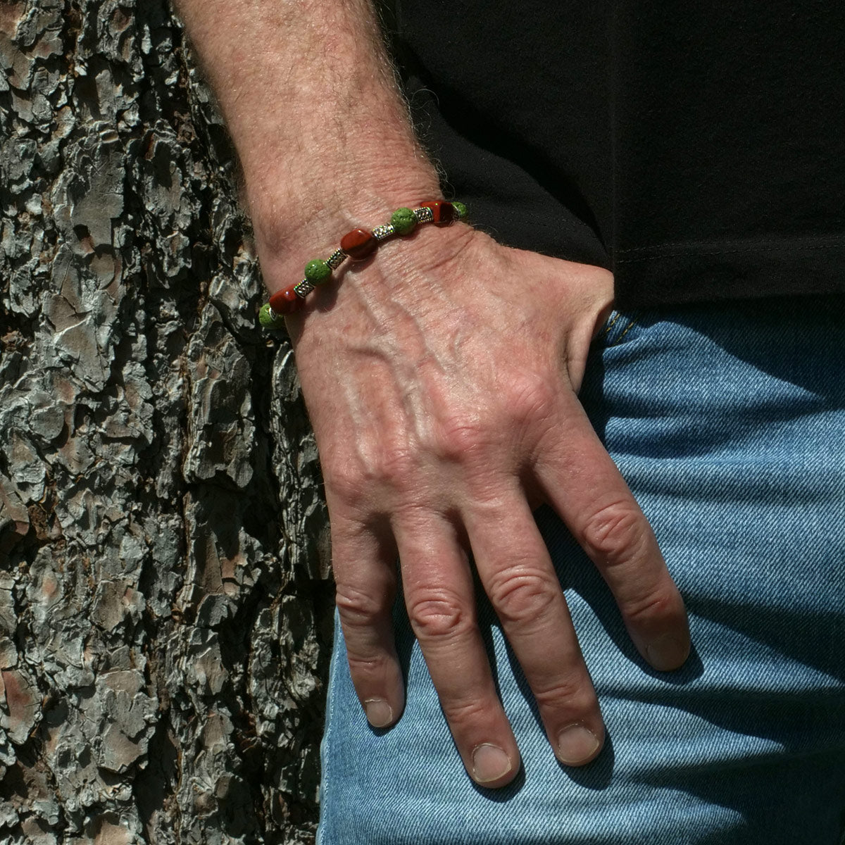 Men's Bracelet in Green Faience and Red Jasper - Em Hotep Collection