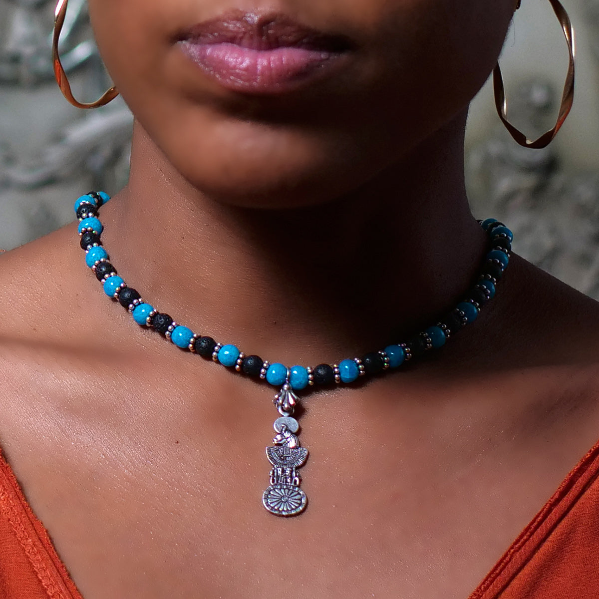 Women's Necklace in Blue Faience with Matte Black Lava - Em Hotep Collection