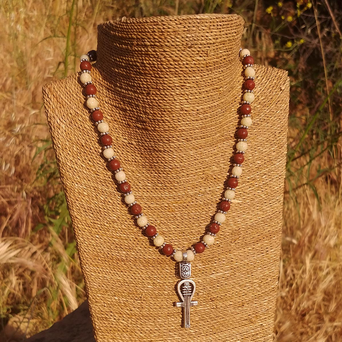 Women's Necklace in Sand Tone Faience with Hand-Hewn Matte Red Jasper - Em Hotep Collection
