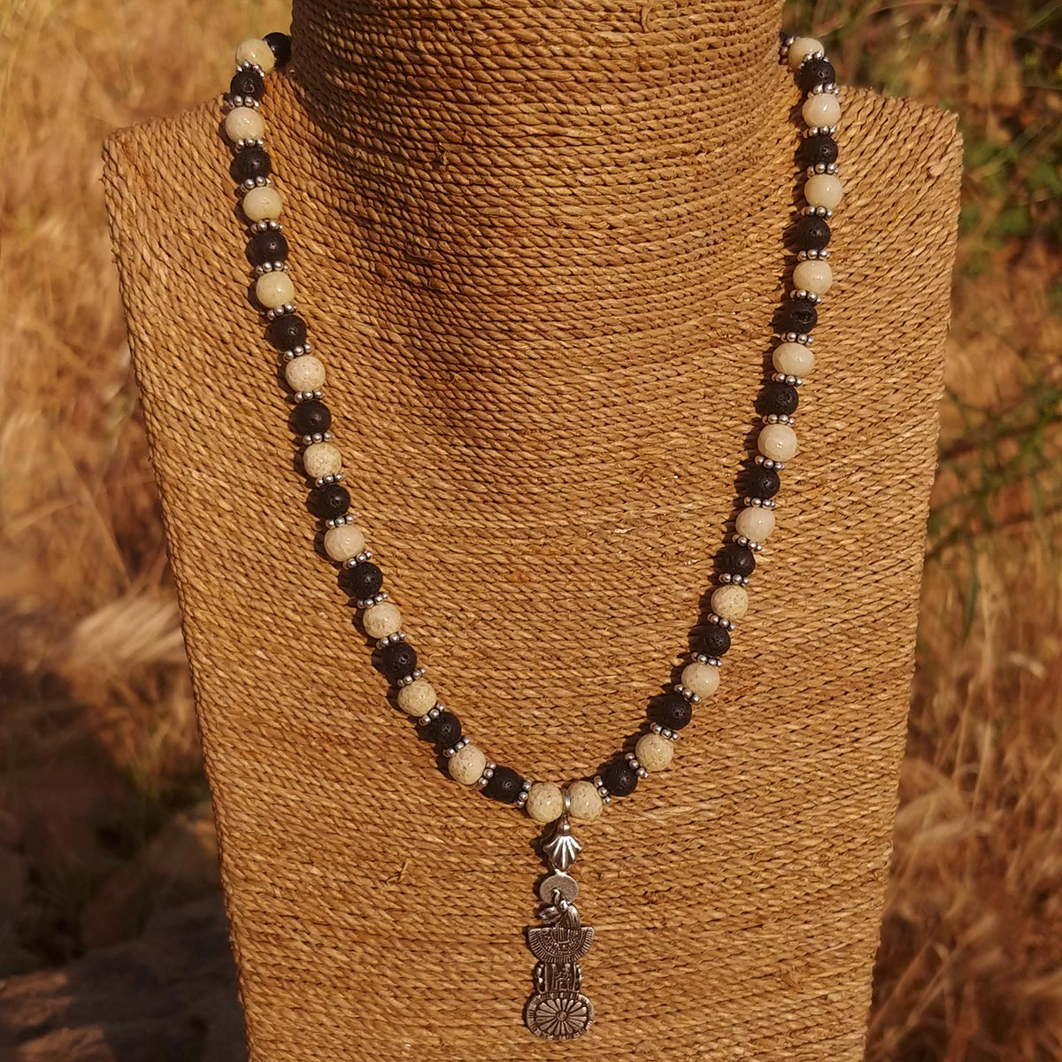 Men's Necklace in Sand Tone Faience with Matte Black Lava - Em Hotep Collection