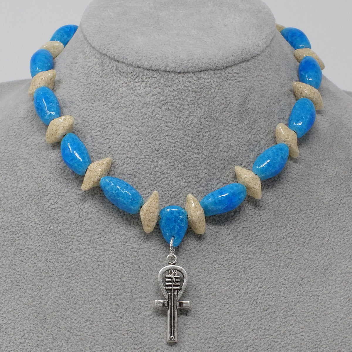 "Ankh Necklace in Silver with ""Egyptian Sky"" & ""Wadi Sand"" Faience Beads - ""Ka Collection"""