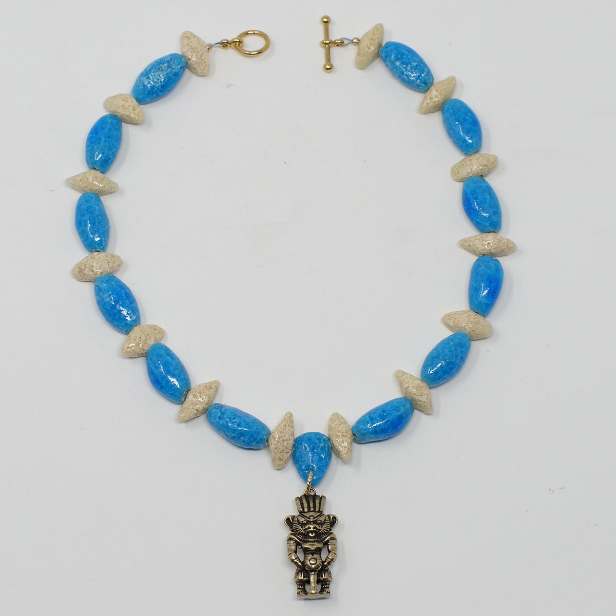 "Beaded Necklace Choker with ""Egyptian Sky"" & ""Wadi Sand"" Faience Beads"