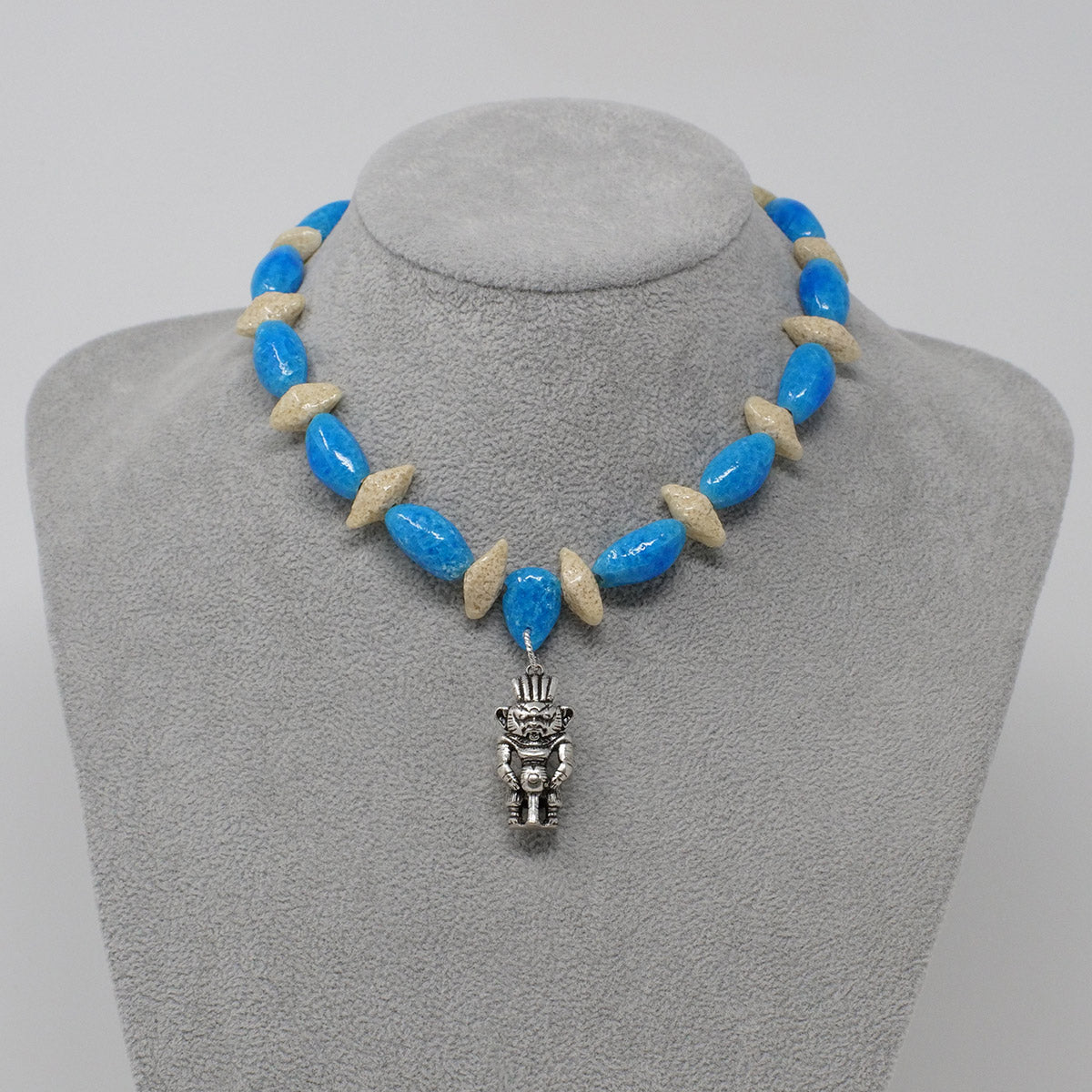 "Bes Necklace in Silver with ""Egyptian Sky"" & ""Wadi Sand"" Faience Beads - ""Ka Collection"""