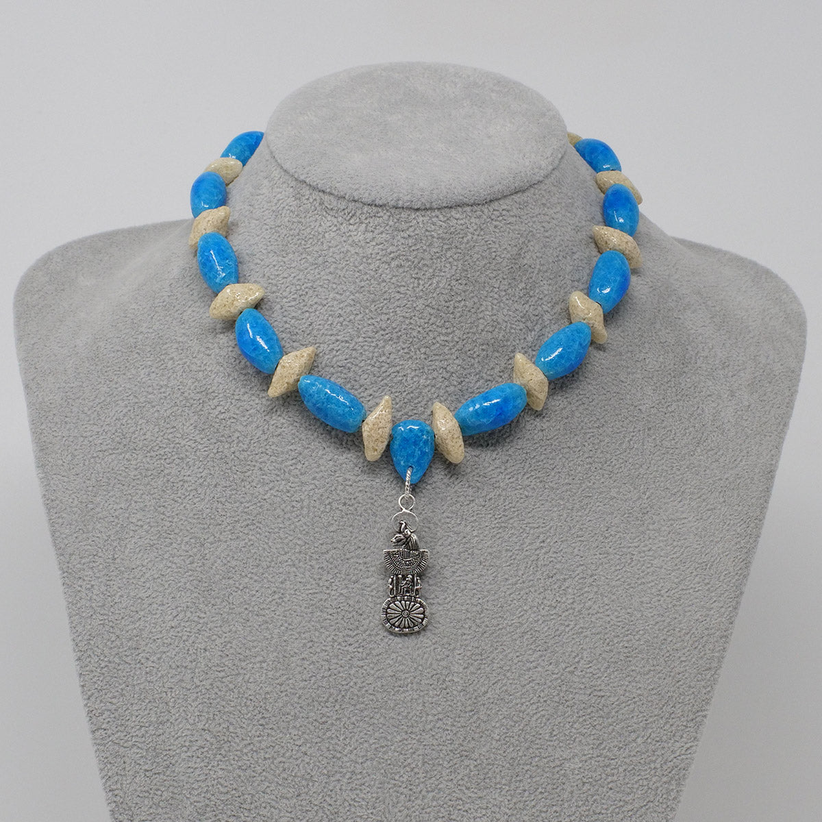 "Sekhmet Necklace in Silver with ""Egyptian Sky"" & ""Wadi Sand"" Faience Beads - ""Ka Collection"""