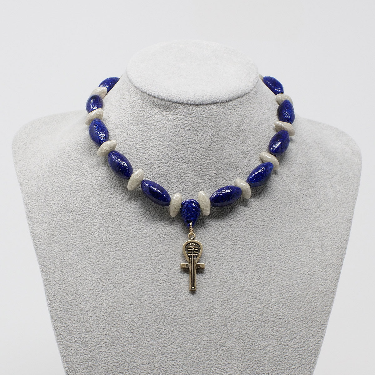 "Egyptian Ankh Necklace in Gold with ""Blue Lotus"" & ""Luxor Pearl"" Faience Beads - ""Ka Collection"""