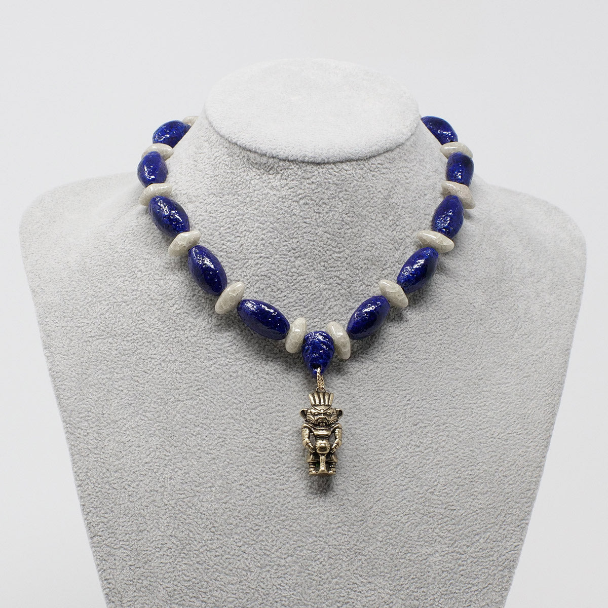 "Bes Necklace in Gold with ""Blue Lotus"" & ""Luxor Pearl"" Faience Beads - ""Ka Collection"""