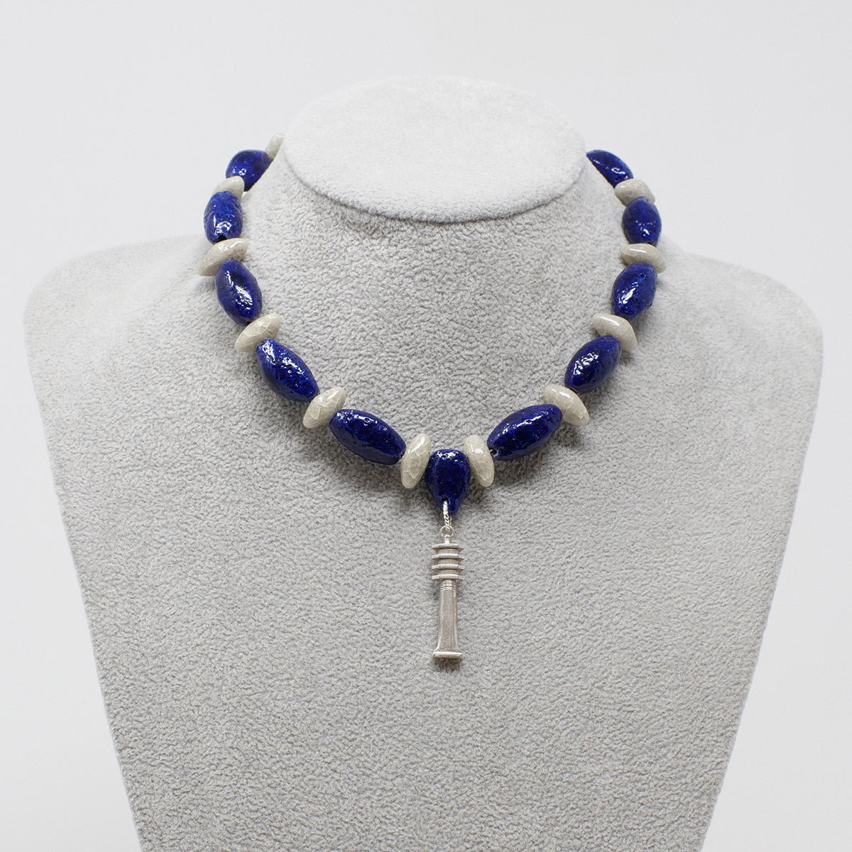"Egyptian Pendant necklace in Silver with ""Blue Lotus"" & ""Luxor Pearl"" Faience Beads - ""Ka Collection"""