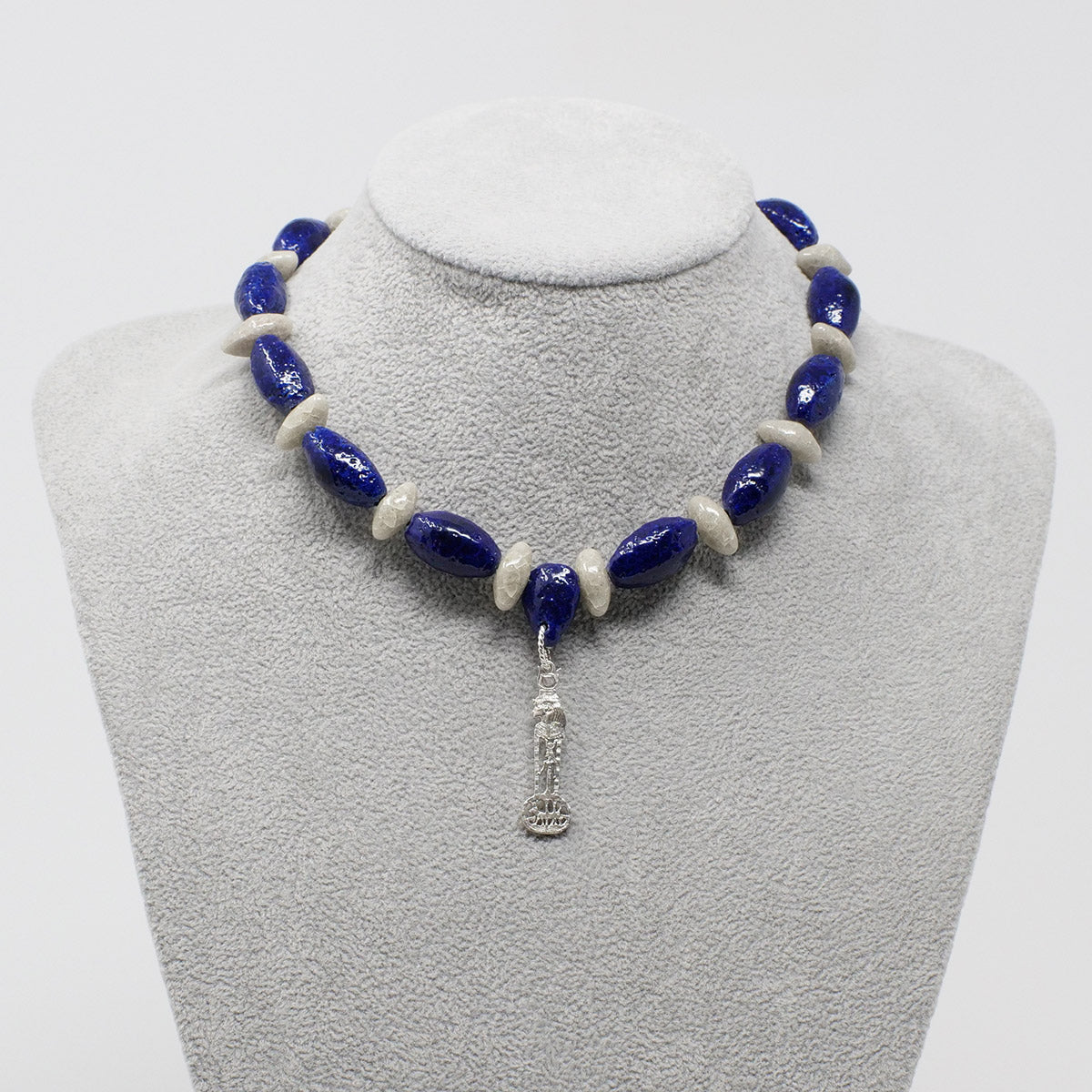 "Isis Goddess necklace in Silver with ""Blue Lotus"" & ""Luxor Pearl"" Faience Beads - ""Ka Collection"""