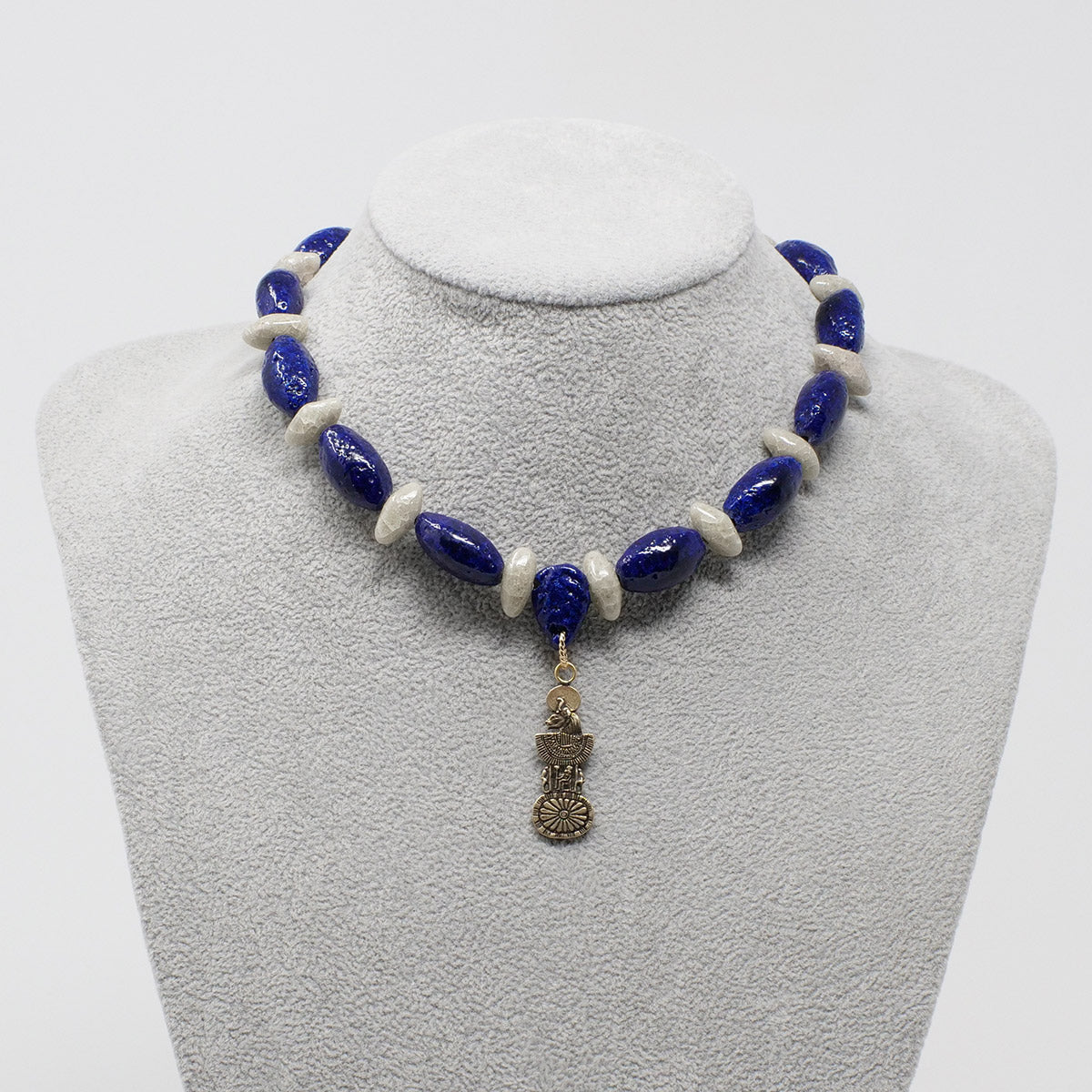 "Sekhmet Necklace in Gold with ""Blue Lotus"" & ""Luxor Pearl"" Faience Beads - ""Ka Collection"""
