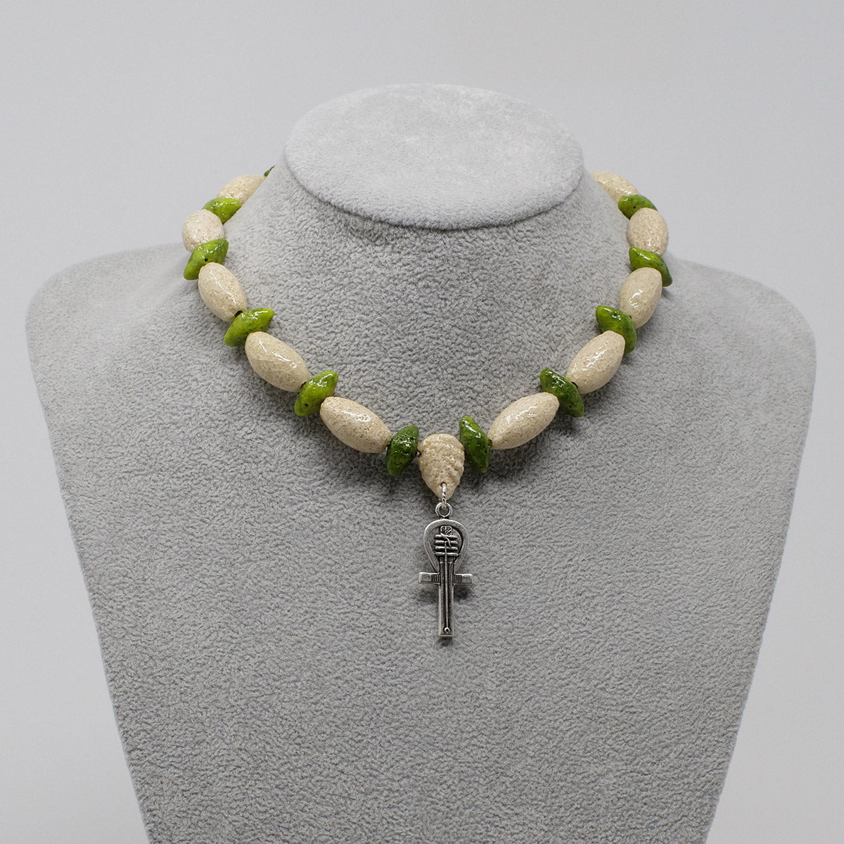 "Silver Ankh necklace in Silver with ""Wadi Sand"" & ""Wadj Green"" Faience Beads"