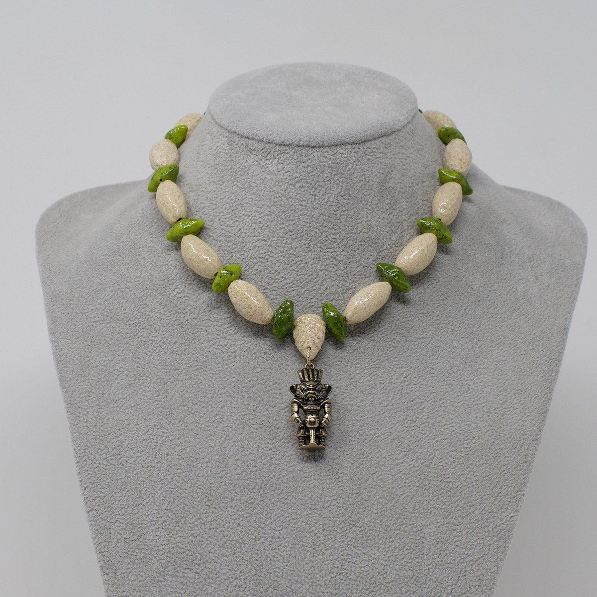 "Bes Necklace in Gold with ""Wadi Sand"" & ""Wadj Green"" Faience Beads - ""Ka Collection"""
