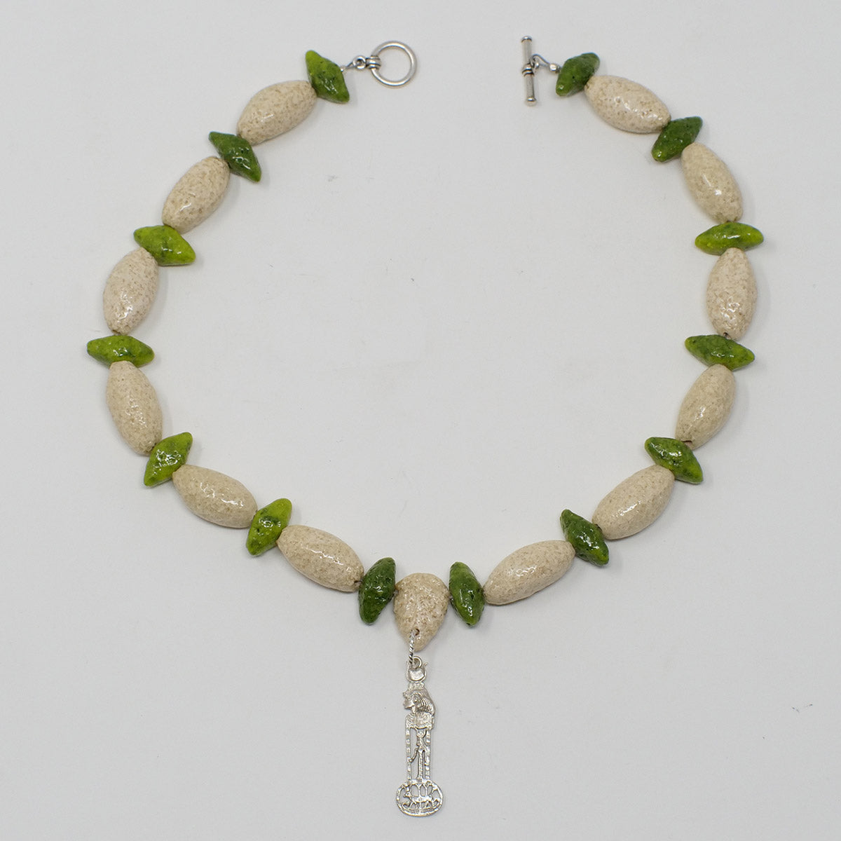 "Egyptian Goddess necklace in Silver with ""Wadi Sand"" & ""Wadj Green"" Faience Beads"