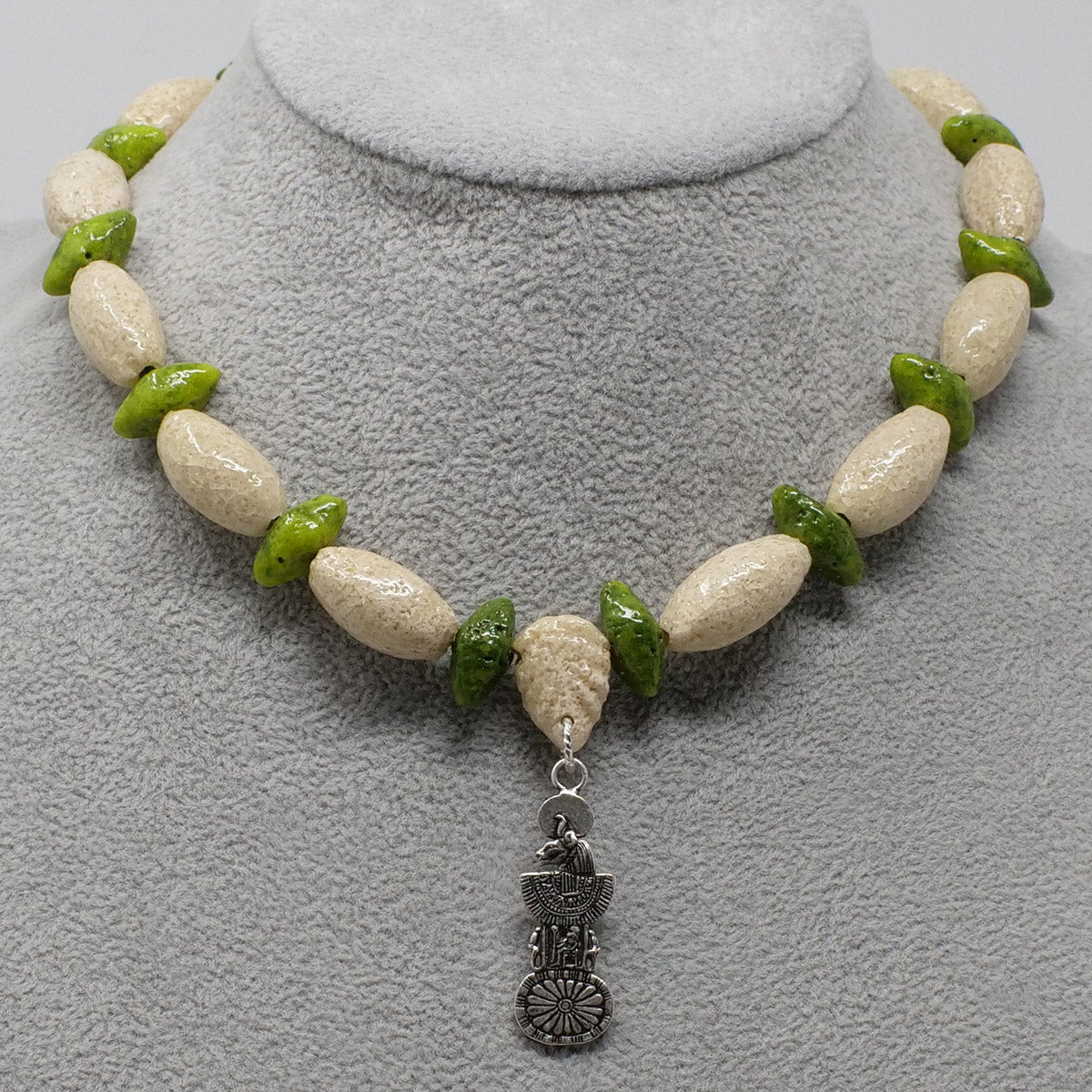"Egyptian Collar necklace in Silver with ""Wadi Sand"" & ""Wadj Green"" Faience Beads"