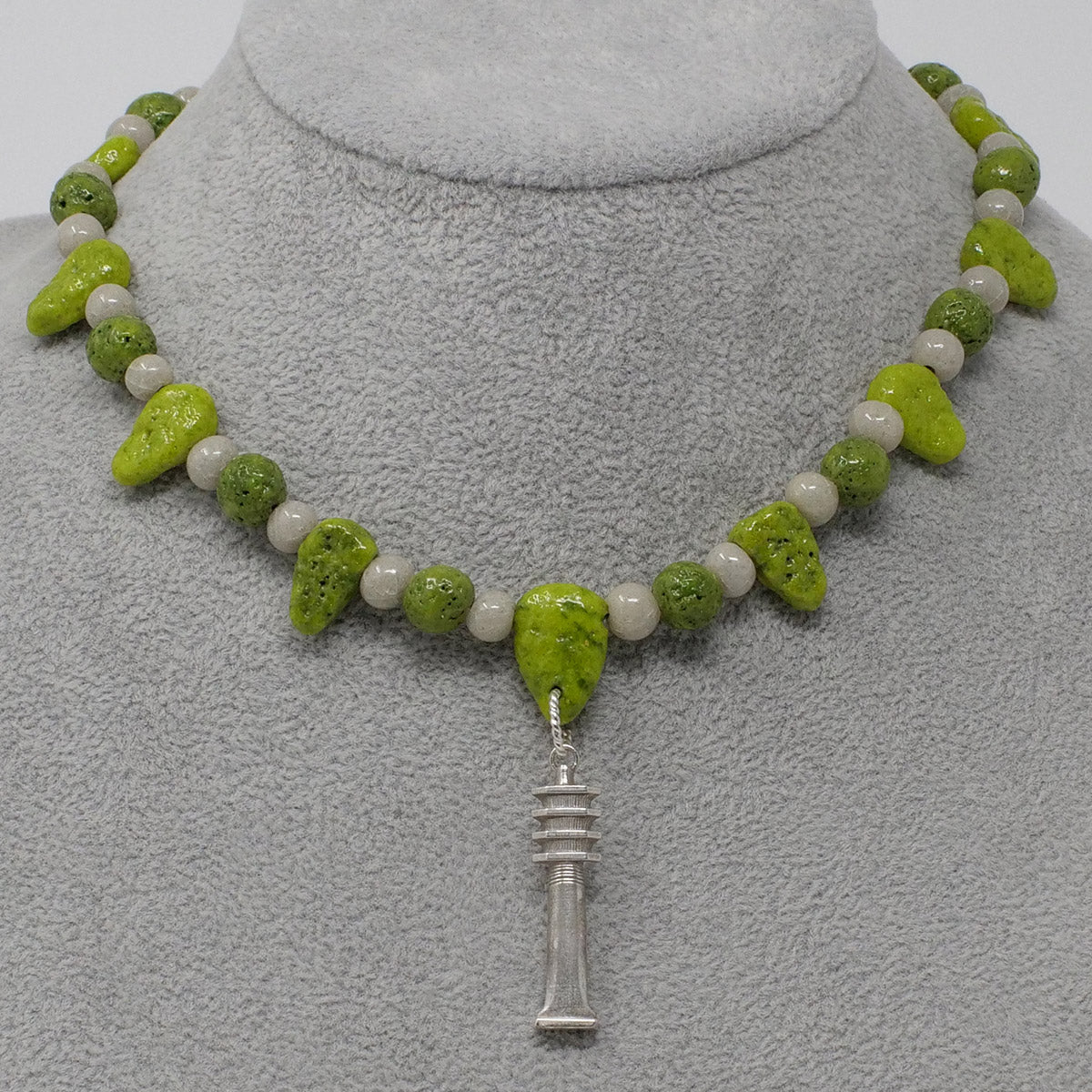 "Djed Pillar Necklace in Silver with ""Wadj Green"" & ""Luxor Pearl"" Faience Beads - ""Ba Collection"""