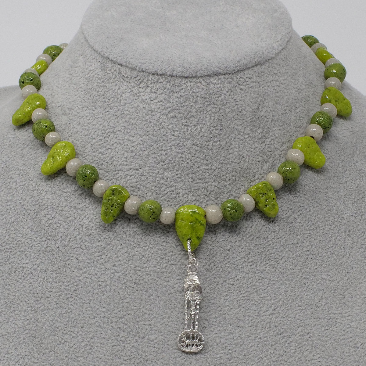 "Hathor Necklace in Silver with ""Wadj Green"" & ""Luxor Pearl"" Faience Beads - ""Ba Collection"""