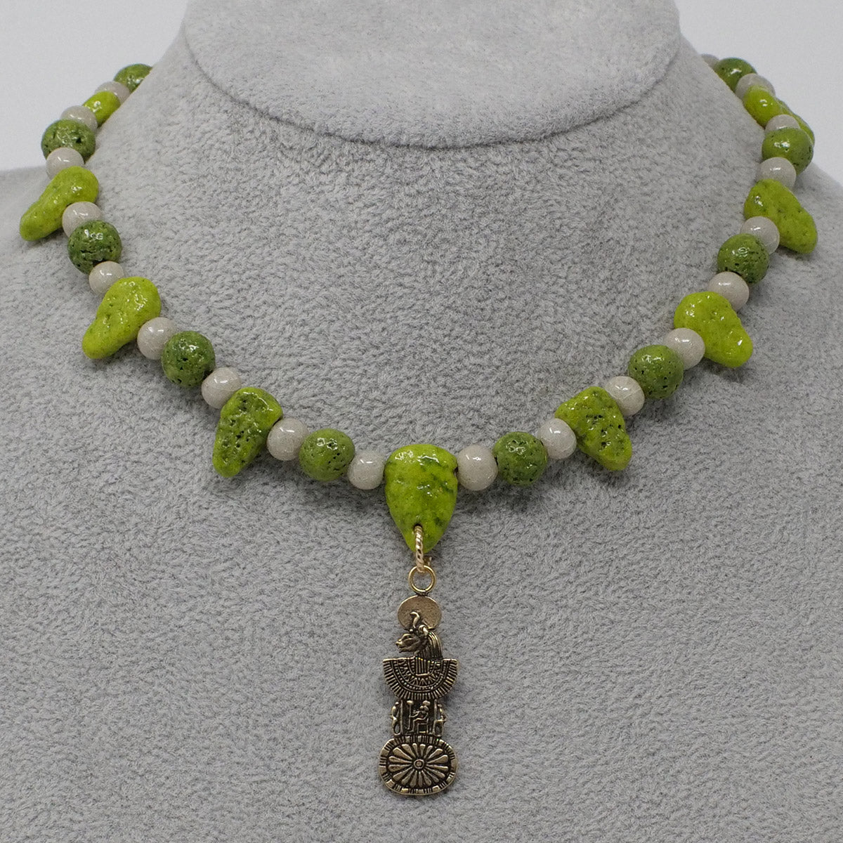 "Sekhmet Necklace in Gold with ""Wadj Green"" & ""Luxor Pearl"" Faience Beads - ""Ba Collection"""