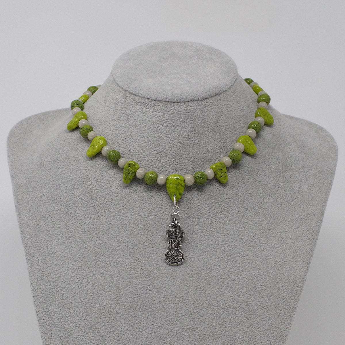 "Sekhmet Necklace in Silver with ""Wadj Green"" & ""Luxor Pearl"" Faience Beads - ""Ba Collection"""