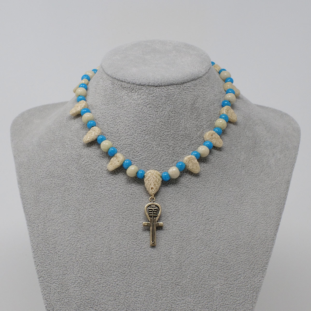 "Was Scepter necklace in Gold with ""Wadi Sand"" & ""Egyptian Sky"" Faience Beads"