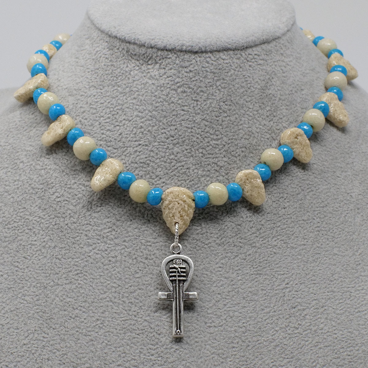 "Ankh Necklace in Silver with ""Wadi Sand"" & ""Egyptian Sky"" Faience Beads - ""Ba Collection"""