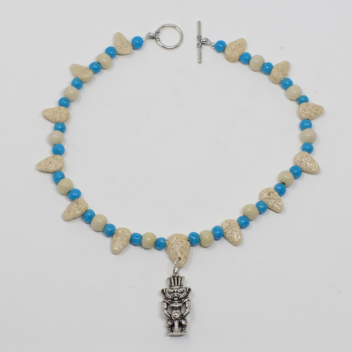 "Bes Necklace in Silver with ""Wadi Sand"" & ""Egyptian Sky"" Faience Beads - ""Ba Collection"""