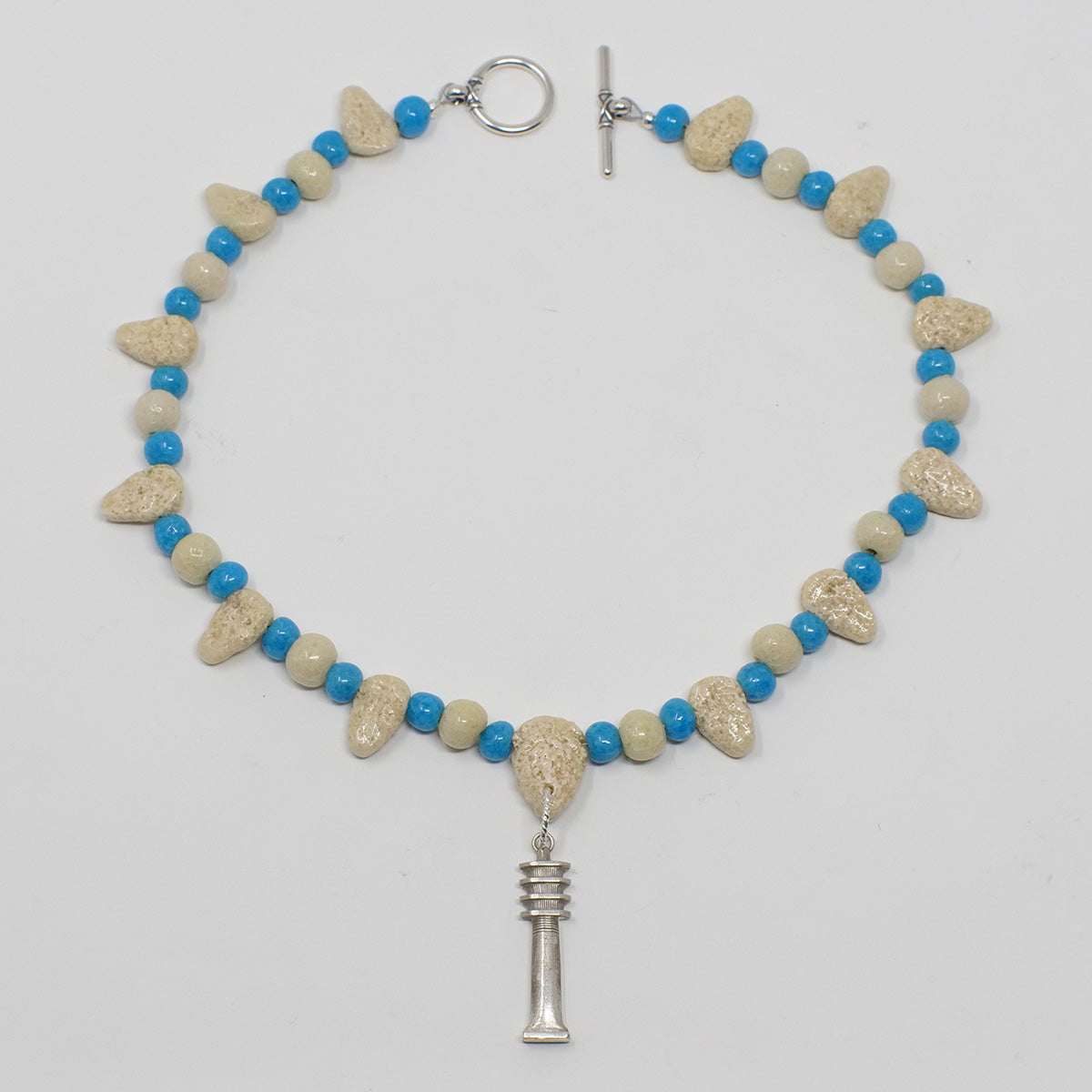 "Djed Pillar Necklace in Silver with ""Wadi Sand"" & ""Egyptian Sky"" Faience Beads - ""Ba Collection"""