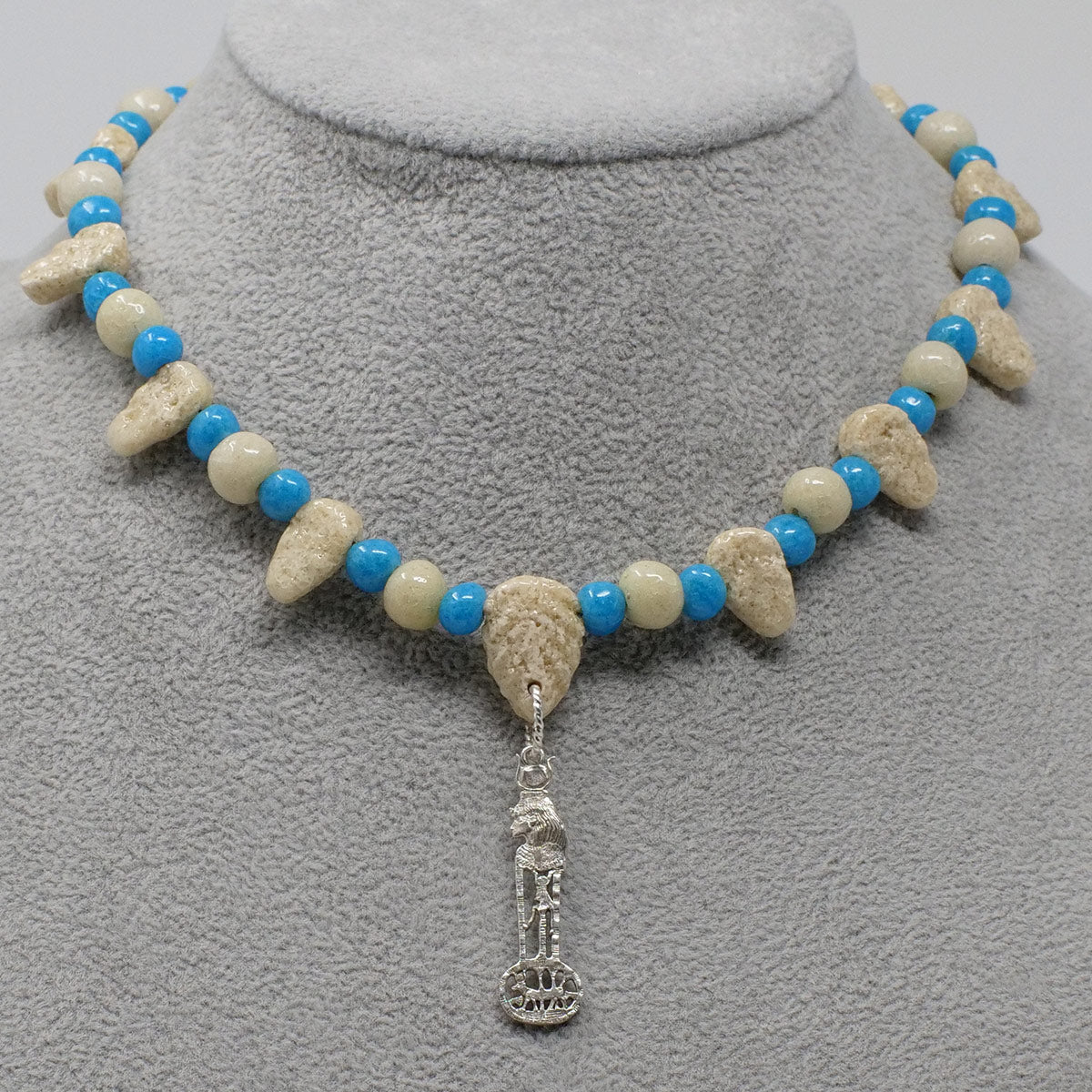 "Egyptian Goddess of Love necklace in Silver with ""Wadi Sand"" & ""Egyptian Sky"" Faience Beads"