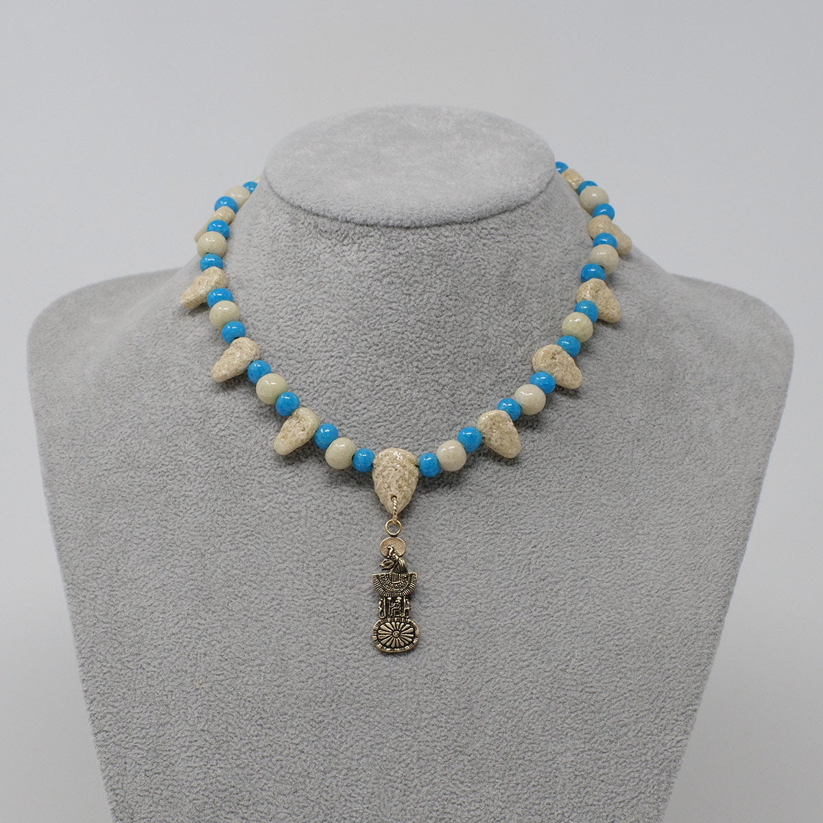 "Egyptian Goddesses, Sekhmet / Bastet necklace in Gold with ""Wadi Sand"" & ""Egyptian Sky"" Faience Beads"