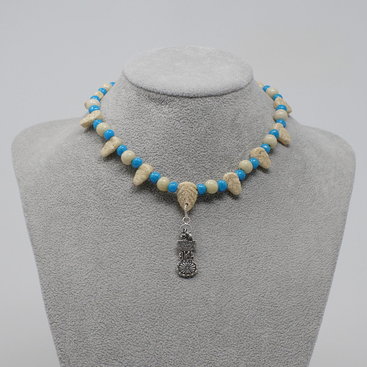 "Statement Collar necklace in Silver with ""Wadi Sand"" & ""Egyptian Sky"" Faience Beads"