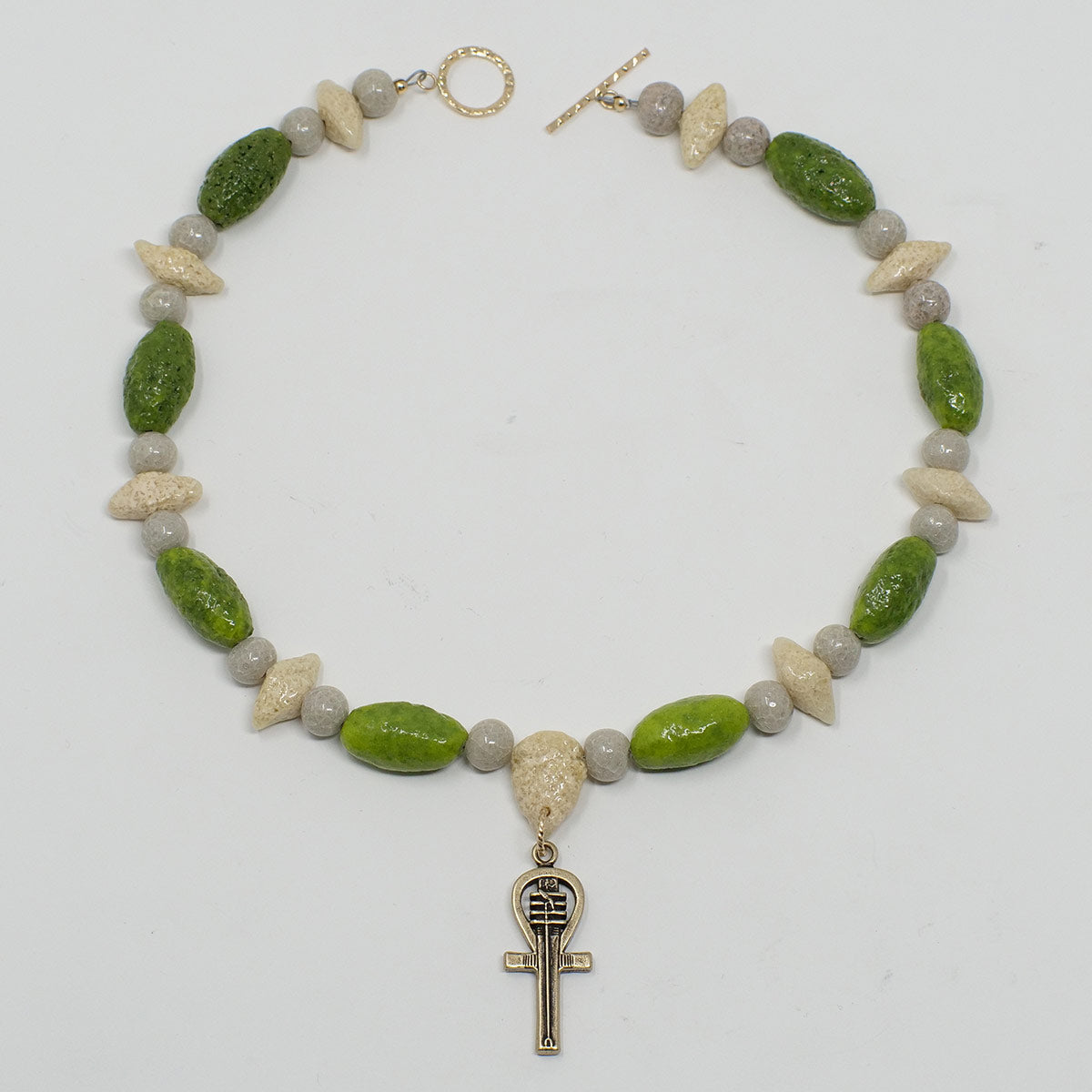 "Ankh Necklace in Gold with ""Wadj Green"", ""Luxor Pearl"" & ""Wadi Sand"" Faience Beads - ""Shenu Collection"""