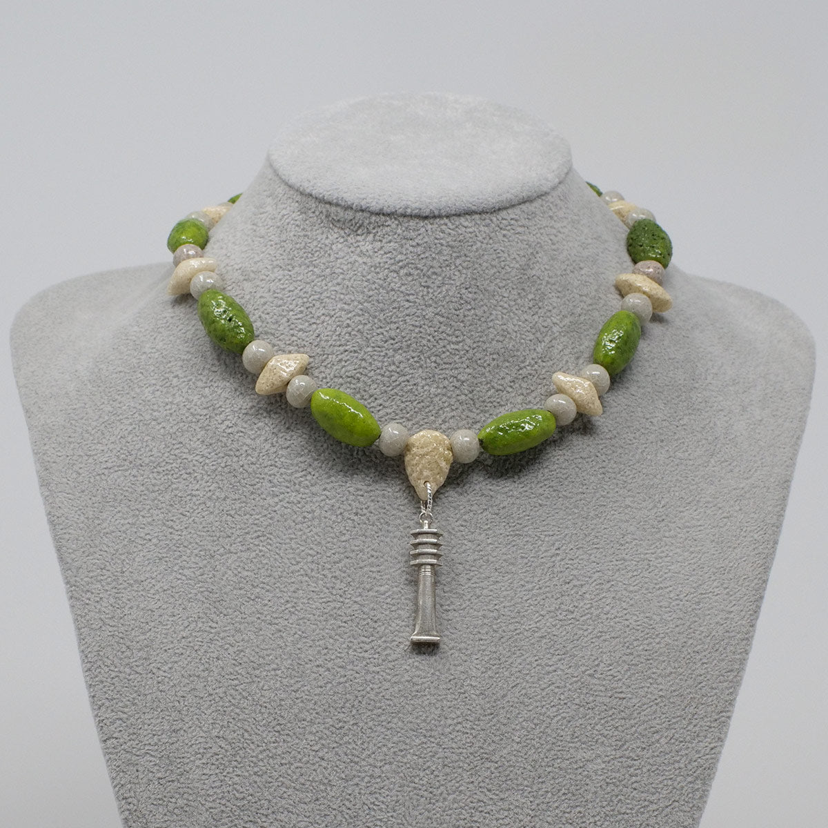 "Djed Pillar Necklace in Silver with ""Wadj Green"", ""Luxor Pearl"" & ""Wadi Sand"" Faience Beads - ""Shenu Collection"""