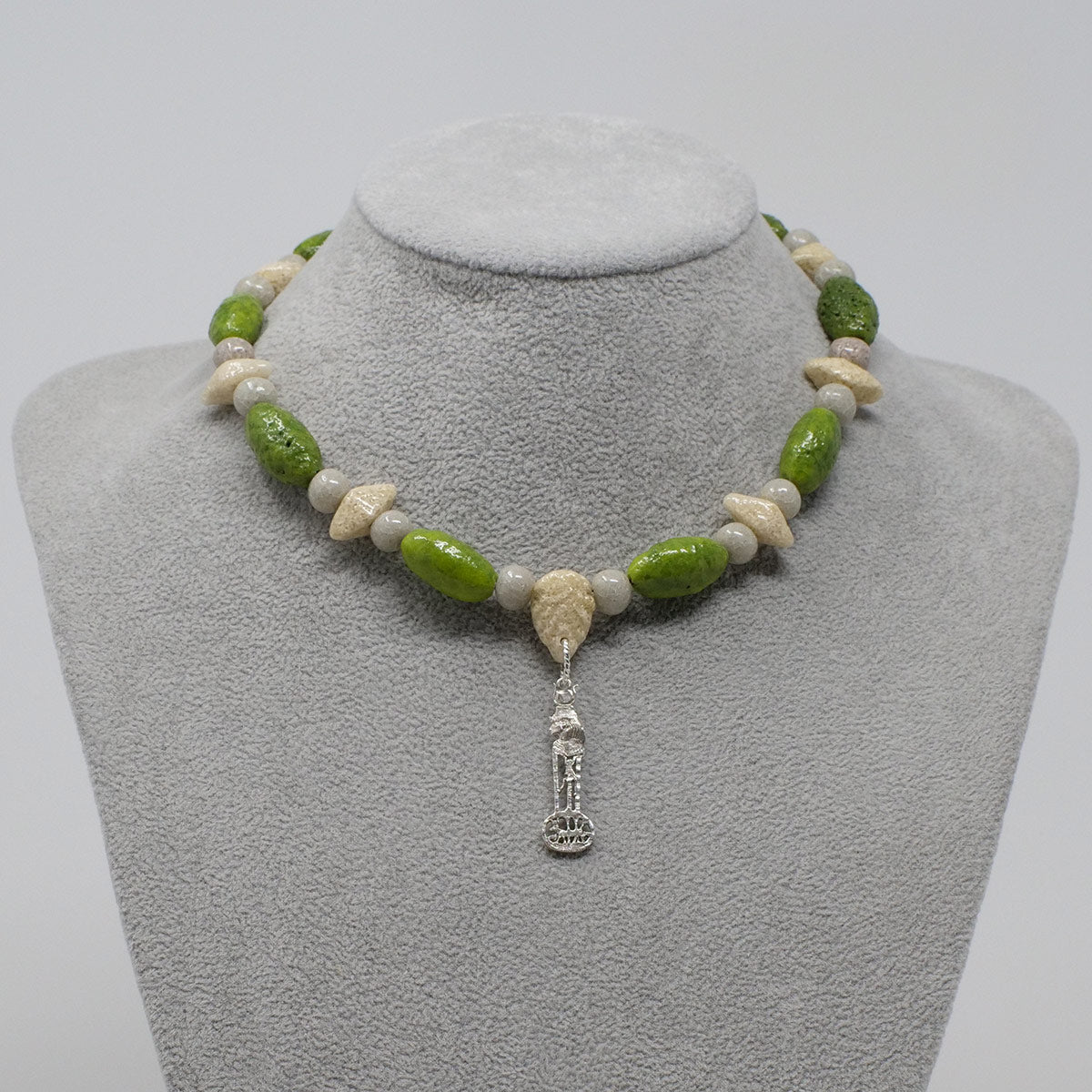 "Hathor Necklace in Silver with ""Wadj Green"", ""Luxor Pearl"" & ""Wadi Sand"" Faience Beads - ""Shenu Collection"""