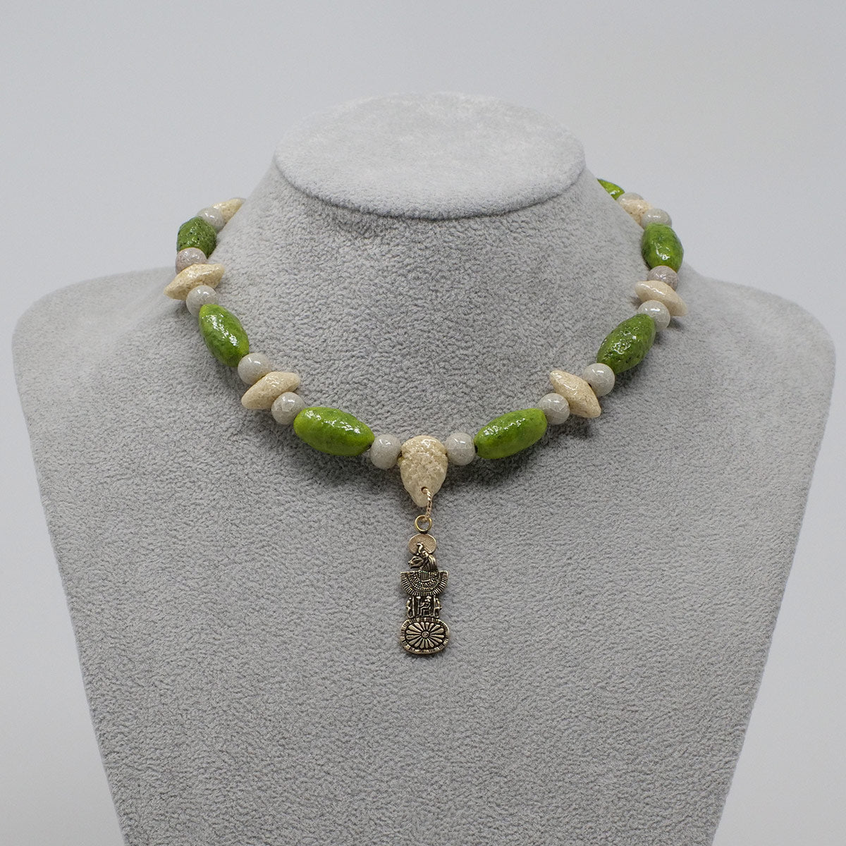 "Sekhmet Necklace in Gold with ""Wadj Green"", ""Luxor Pearl"" & ""Wadi Sand"" Faience Beads - ""Shenu Collection"""