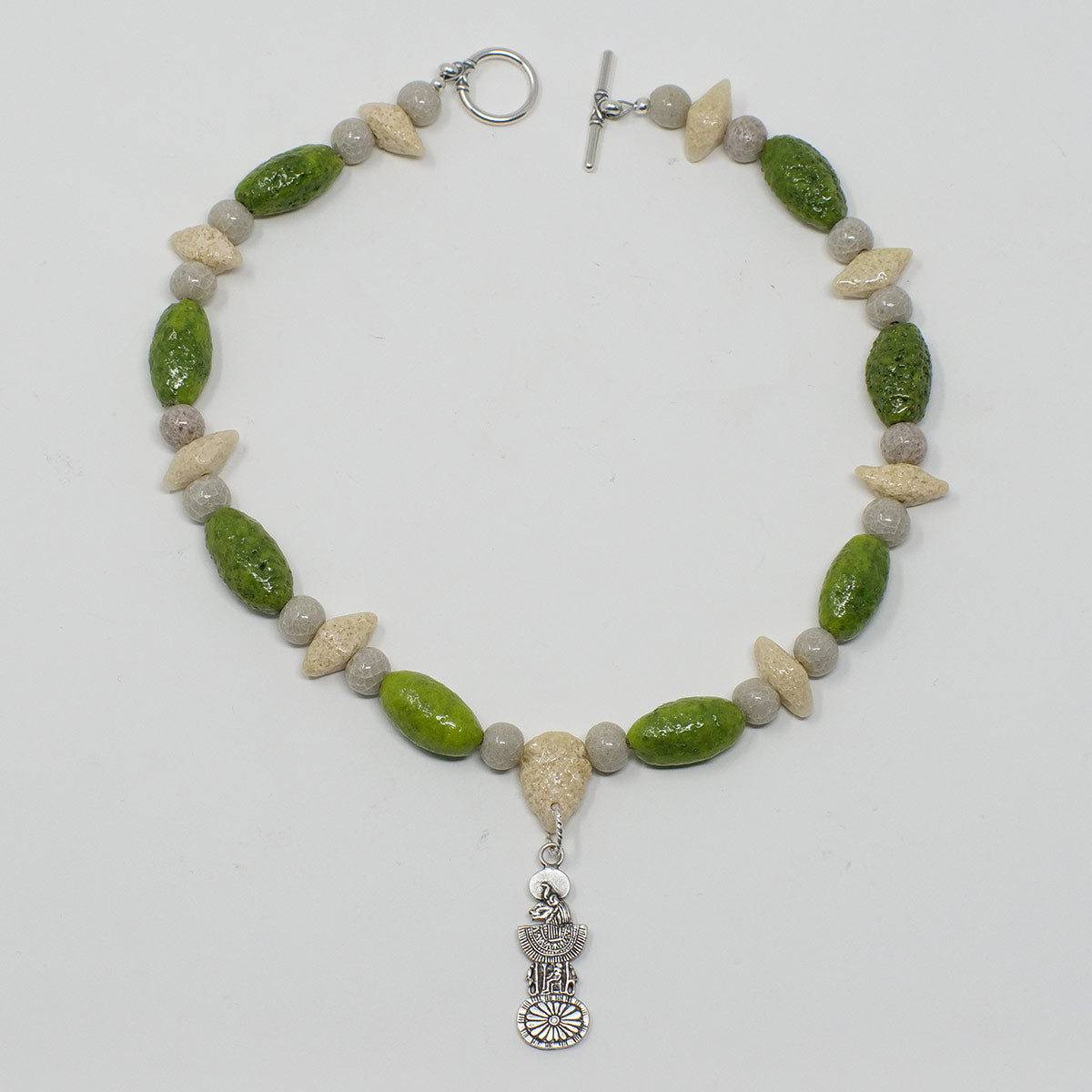 "Sekhmet Necklace in Silver with ""Wadj Green"", ""Luxor Pearl"" & ""Wadi Sand"" Faience Beads - ""Shenu Collection"""