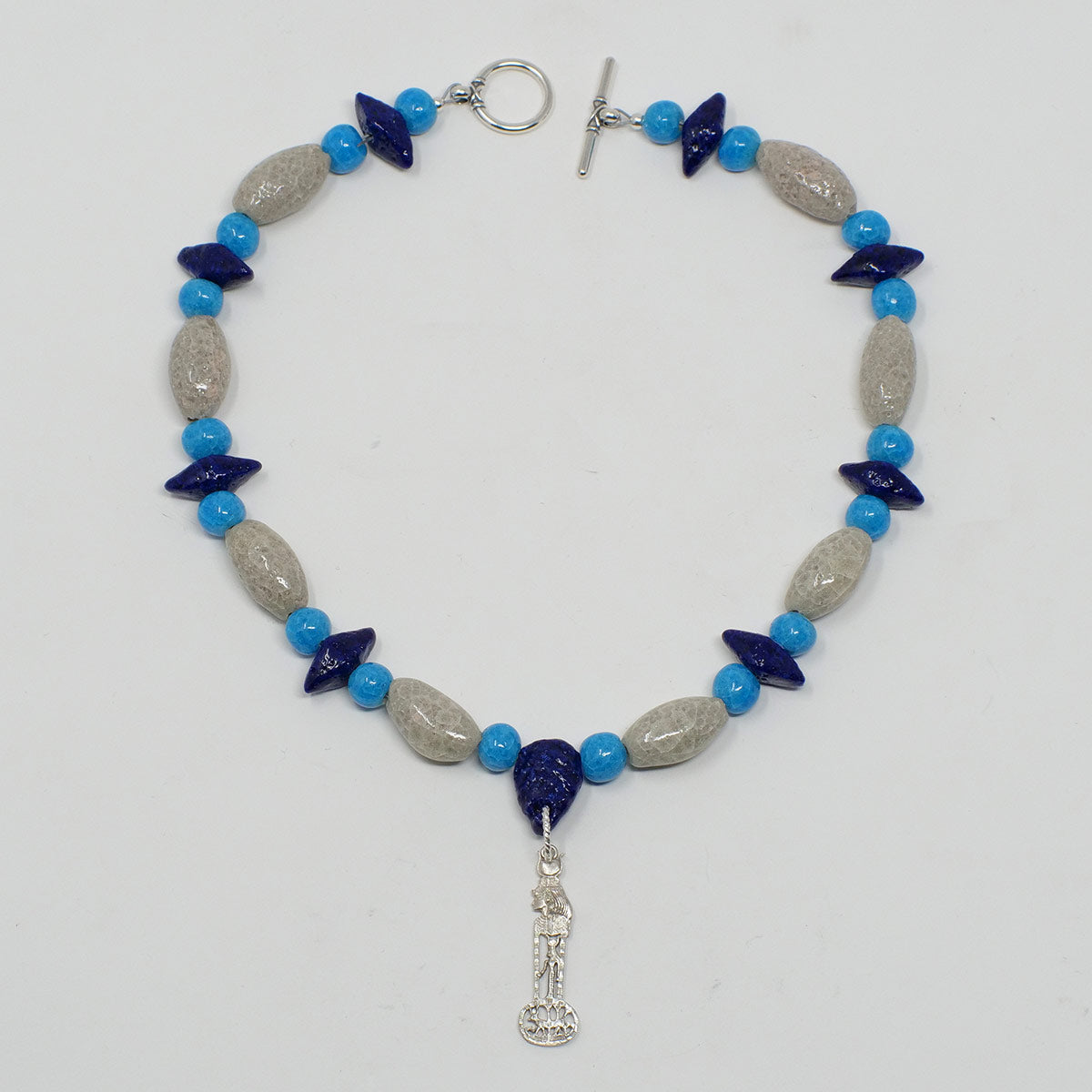"Hathor Necklace in Silver with ""Luxor Pearl"", ""Blue Lotus"" & ""Egyptian Sky"" Faience Beads - ""Shenu Collection"""