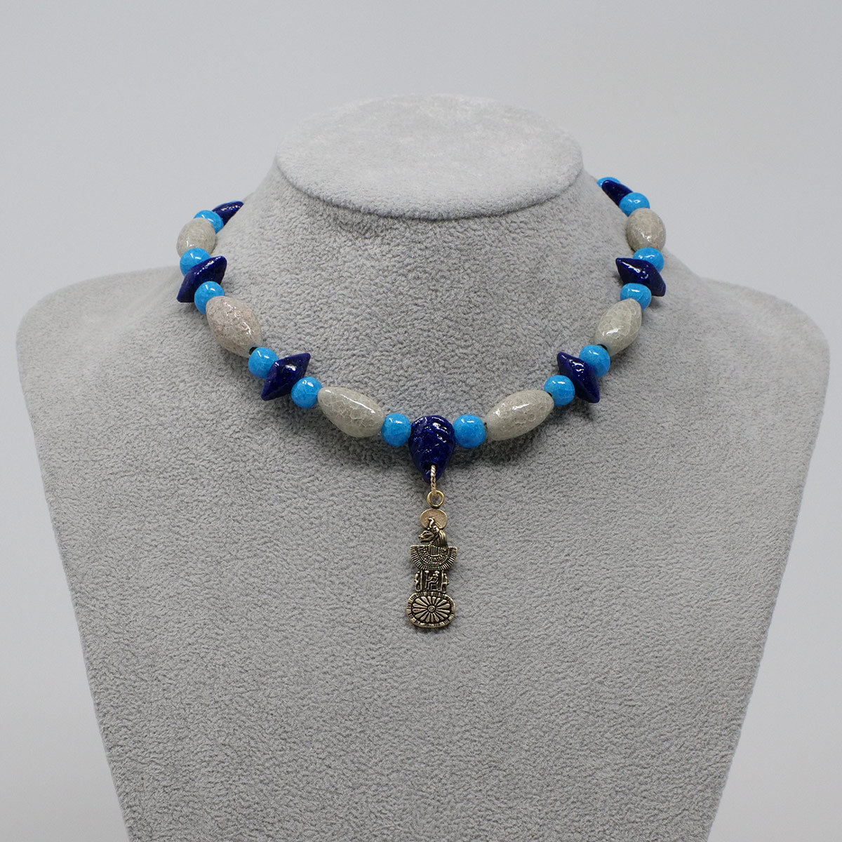 "Sekhmet Necklace in Gold with ""Luxor Pearl"", ""Blue Lotus"" & ""Egyptian Sky"" Faience Beads - ""Shenu Collection"""