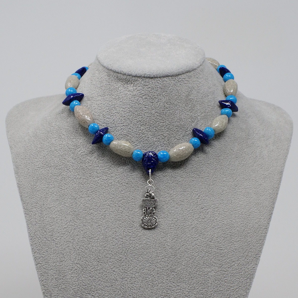 "Sekhmet Necklace in Silver with ""Luxor Pearl"", ""Blue Lotus"" & ""Egyptian Sky"" Faience Beads - ""Shenu Collection"""