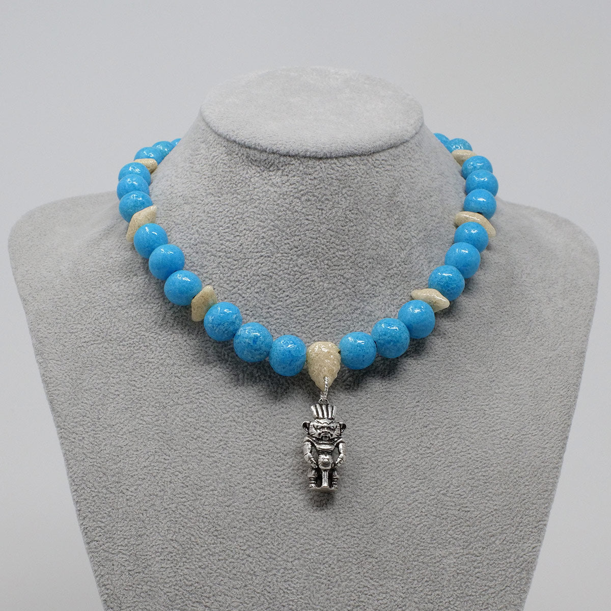 "Bes Necklace in Silver with ""Egyptian Sky"" & ""Wadi Sand"" Faience Beads - ""Ouroborus Collection"""